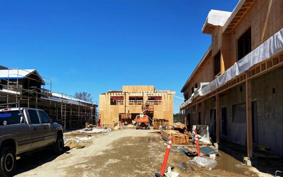 Work continues Feb. 26 on the new campus for Sunset High School and other programs at the Encinitas campus. (San Dieguito Union High School District photo)