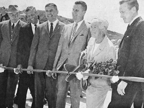 "Interstate 5 flashback: ""The ribbon cutting of the first segment of I-5 on May 6, 1965. This segment of the freeway ran from Encinitas Blvd. [then San Marcos Road] to Via de la Valle. [Citizen photo]"" (North Coast Current archive)"