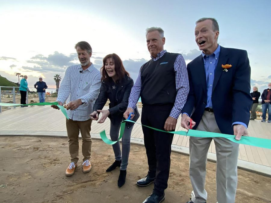Nature Collective Director Doug Gibson (far left), Solana Beach Mayor Jewel Edson, Harbaugh Foundation DirectorJoe Balla and Doug Gillingham, Immediate Past President of Nature Collective (far right), celebrate the opening of the Harbaugh Seaside Trails at San Elijo Lagoon on Feb. 22. (Photo by Jewel Edson, Nature Collective)