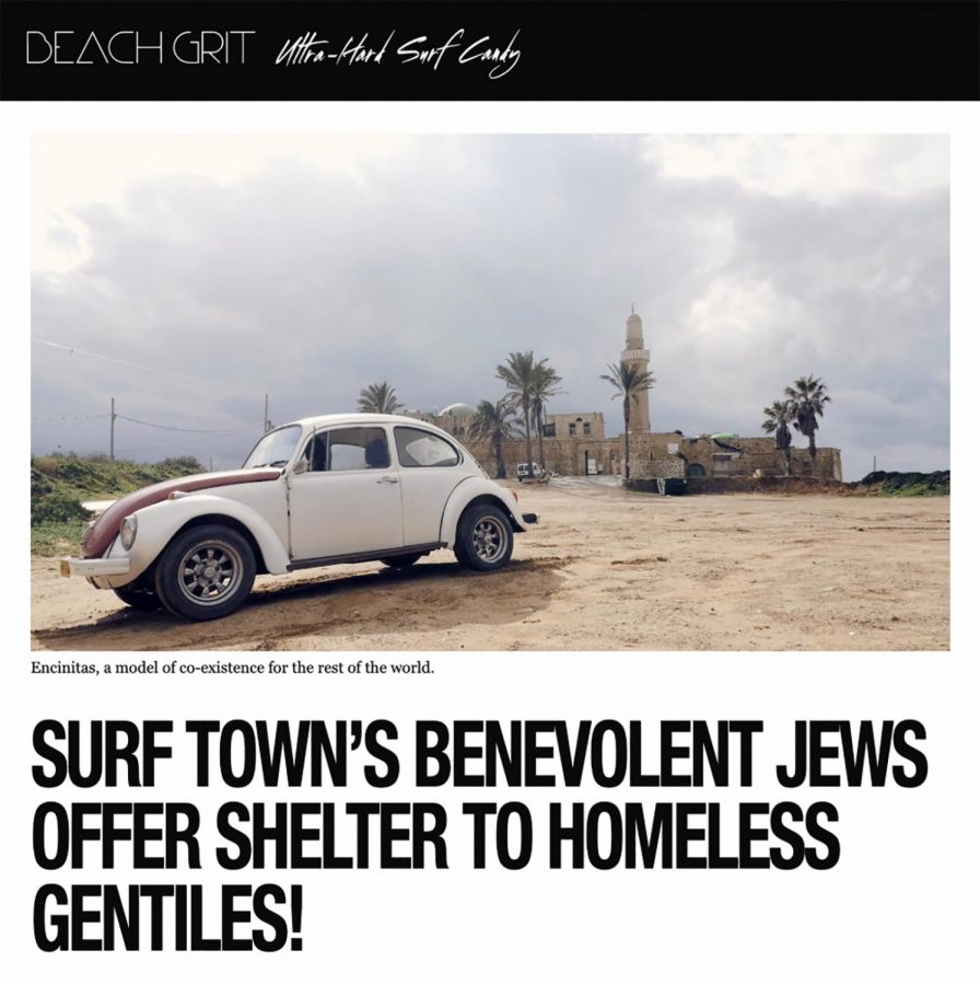 A screen capture shows the headline of a Beachgrit story that stirred controversy in Encinitas in February. (Beachgrit story page)