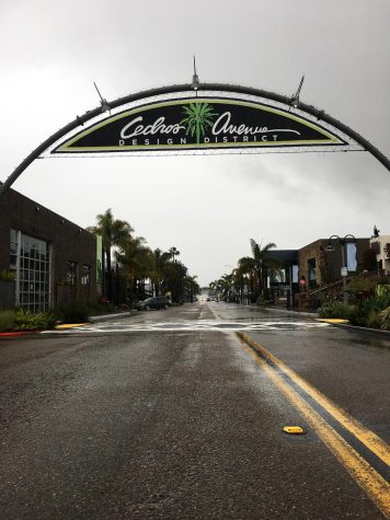 The Cedros Design District in Solana Beach is mostly empty on a rainy Friday, April 10, during the current statewide COVID-19 coronavirus closures. (Photo by Roman S. Koenig)