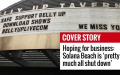 The marquee of Solana Beach's Belly Up Tavern announces the sale of downloadable past shows in place of live concerts Friday, April 10, as a stay-at-home order continues amid the COVID-19 coronavirus outbreak. (Photo by Roman S. Koenig)
