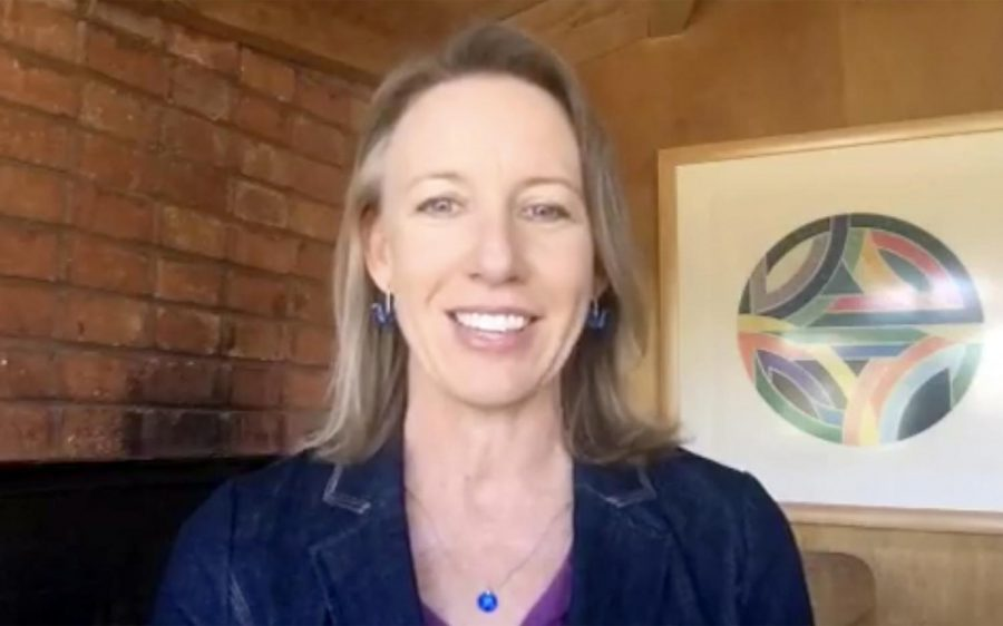 Encinitas Mayor Catherine Blakespear announces her re-election bid via Facebook Live on Saturday, April 11. (Facebook Live capture)