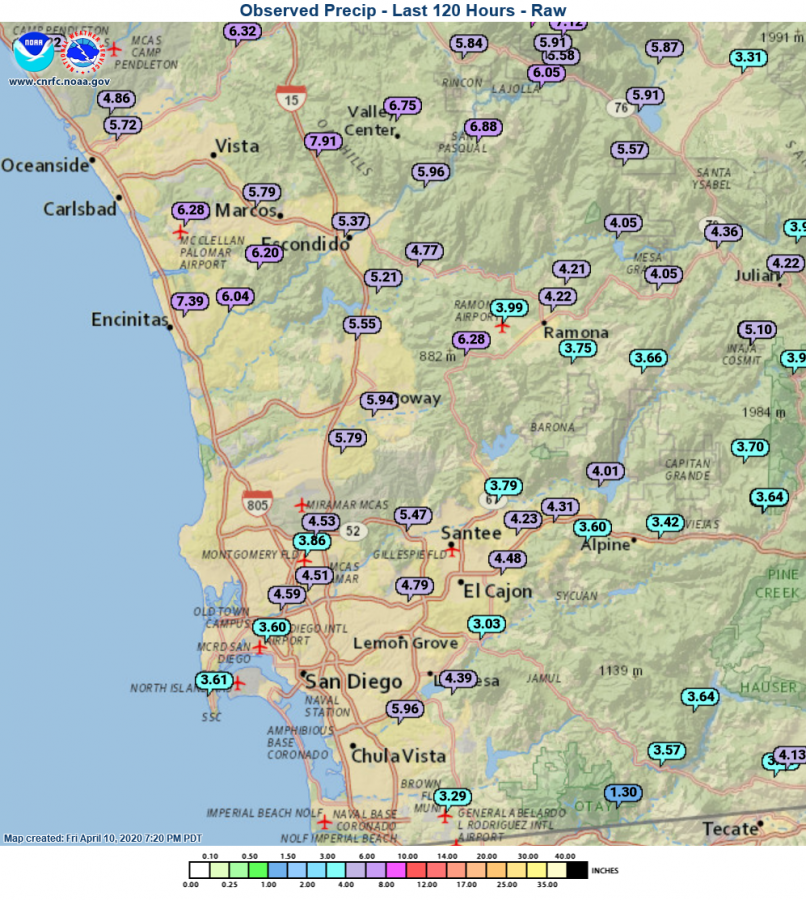 San Diego County five-day rain totals as of Friday, April 10. (National Weather Service)