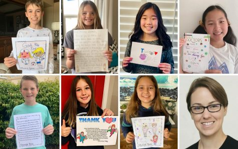 Santa Fe Christian fifth graders show their messages to Sharp healthcare workers. Top row, left to right: Calvin Barno, Anna Barr, Samantha Kim and Aspen Lee. Bottom row, left to right: Quinn Nikkel, Presley Seedig and Jaya Yuskiewicz. Lower right corner: teacher Cynthia Nixon. (Photos of Santa Fe Christian Schools)