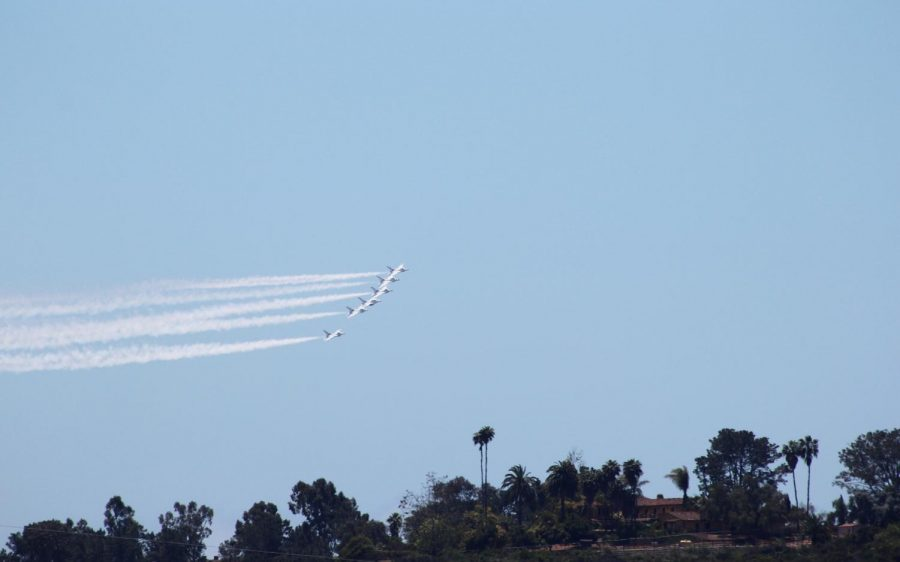 The Air Force Thunderbirds fly over Encinitas on Friday, May 15, in support of healtcare workers at Scripps Memorial Hospital. (Photo courtesy of Matt Racine)