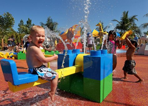 Legoland California theme park, located in Carlsbad, remains closed during the COVID-19 coronavirus pandemic. Pictured: children playing at the park's Splash Zoo. (Legoland photo)
