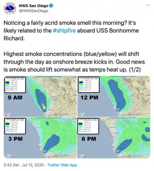 The National Weather Service in San Diego shared a foreacast map via Twitter on Monday, July 13, showing the movement of smoke from a fire aboard the USS Bonhomme Richard.