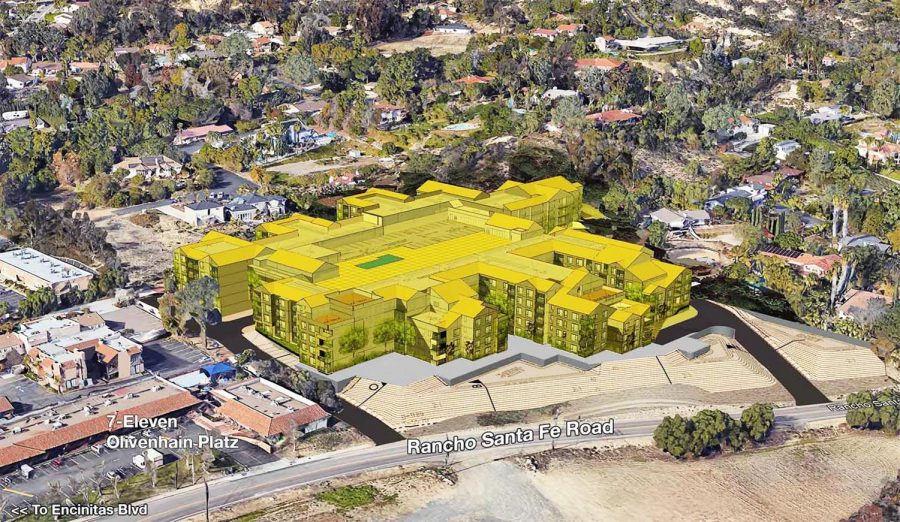 An Encinitas Residents for Responsible Development rendering shows the placement of the proposed Encinitas Boulevard Apartments in Olivenhain. (ERRD image)