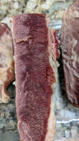 Homemade corned beef, properly cut. (Photo by Laura Woolfrey Macklem)