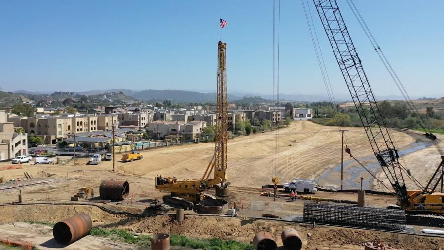Work continues on one of the bridges across San Marcos Creek, pictured in early June. (San Marcos city photo)