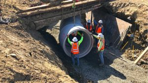 Crews continue work on the San Marcos Creek project, pictured in early June. City officials say completion is on track for spring 2023. (San Marcos city photo)