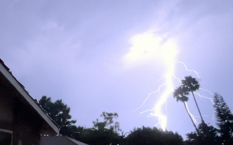 Lightnight flashes in Encinitas on Sept. 9 as thunderstorms roll through the region. (North Coast Current photo)